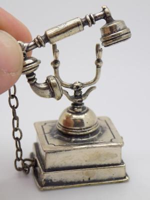 24g/0.8oz Vintage Solid Silver Italian Made Large Telephone Miniature, Stamped