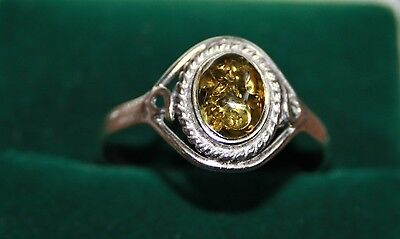Gorgeous Baltic Amber sterling silver ring - Large size