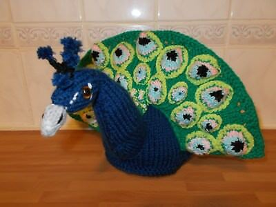 Handknitted Peacock Teacosy