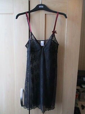 Ladies DKNY Black Net Camisole Shift Dress Lingerie Size M UK 10-12 EU 40