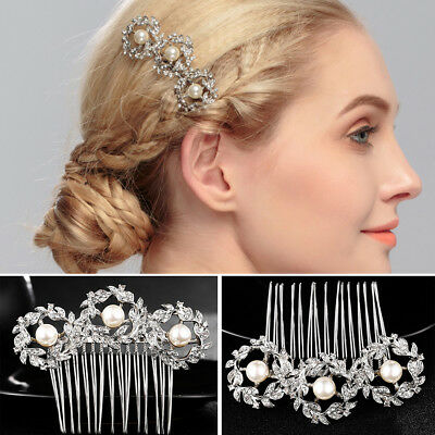 CO_ Faux Pearl Rhinestone Hair Decor Tuck Comb Bride Wedding Photo Prop Splendid
