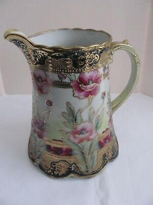 Antique Nippon Hand Painted Floral Scene Beaded Gold Trim Moriage Pitcher.