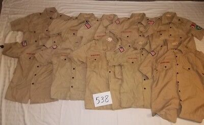 Boy Scout Uniform Tan Shirts Lot of 10 Lot 538