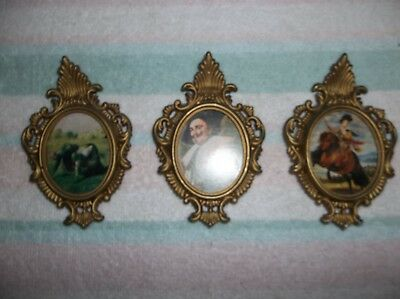 "3 Small Beautiful VINTAGE Ornate Gold Picture FRAMES 4 1/2"" Framed Print Art"