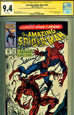Amazing Spider-Man #361 Cgc 9.4 3X Signed Stan Lee/bagley Emberlin-1St Carnage!
