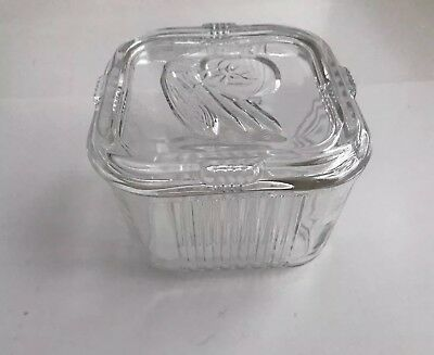 Vintage Clear Glass Pyrex Square Refrigerator Dish Vegetable Embossed Lid