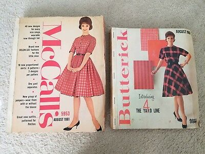 Vintage August 1961 McCalls and Butterick Store Sewing Pattern Counter Catalogs