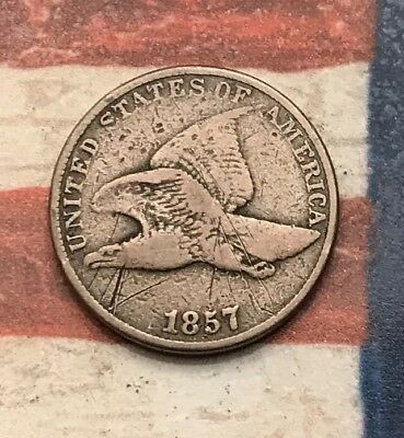 1857 1C Flying Eagle Penny Cent Vintage US Copper Coin #MC4
