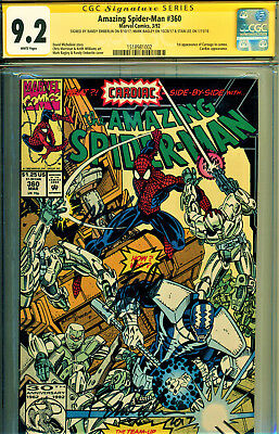 Amazing Spider-Man #360 Cgc 9.2 3X Ss Stan Lee, Bagley, & Emberlin-Carnage Cameo