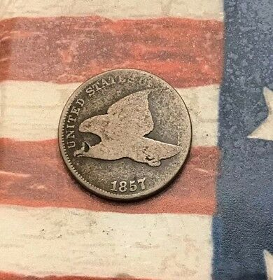 1857 1C Flying Eagle Penny Cent Vintage US Copper Coin #MC7