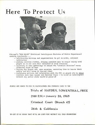 RED SQUAD / SDS / TOM HAYDEN 1968 Chicago Convention /1969 HANDBILL