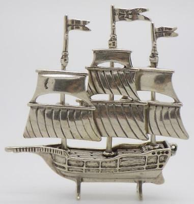 34g/1.2oz Vintage Solid Silver Italian Made Vessel Ship Miniature, Stamped
