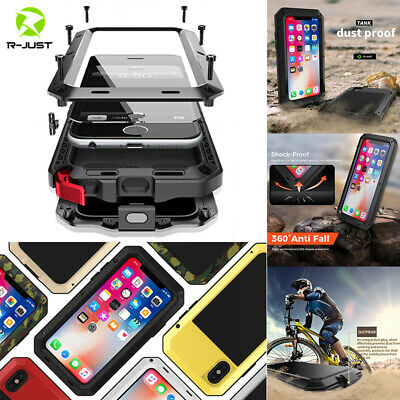 For iPhone XS Max XR 7 8 Waterproof Shockproof Aluminum Metal Gorilla Case Cover