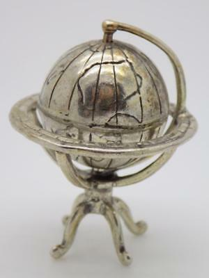 20g/0.7oz. Vintage Solid Silver Italian Made Globe Miniature, Figurine, Stamped