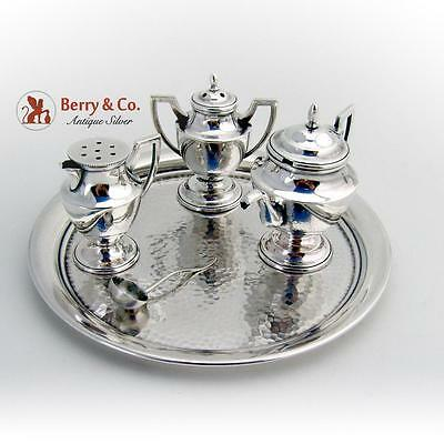 Miniature Figural Salt Pepper Mustard Set Sterling Glass 4 Pieces Japan 1960