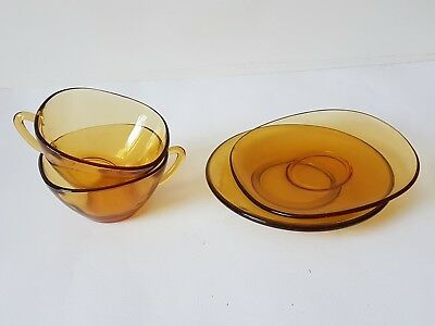 Vintage French Vereco Amber Smoked Glass Tea Cups & Saucer x 2 Retro 70's