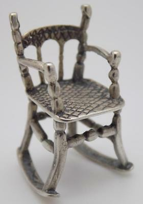 Vintage Solid Silver Italian Made Rocking Chair Miniature, Figurine, Stamped*