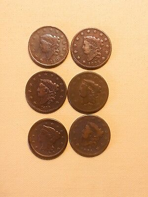 1819,1822,1826,1830,1833,1849 Large Cents A Lot Of EF Coins No Junk