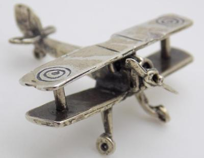 Vintage Solid Silver Italian Made WWII Airplane Miniature, Figurine, Stamped