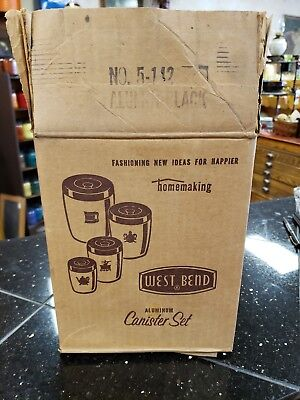 Nos Vintage West Bend Aluminum Canister Set In Original Box - Mint Condition!