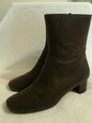 882db9aabfa ECCO WOMENS SOFT Brown Leather Side Zip Ankle Boots Size Eur 42 Us 11-11.5  Euc