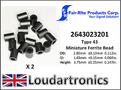 2 x Fair-Rite 2643023201 Type 43 Miniature Ferrite Beads