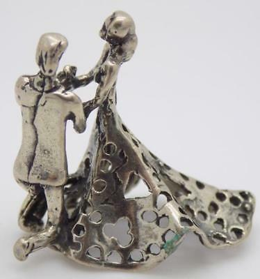 Vintage Solid Silver Italian Made Newlyweds Figurine, Miniature, Stamped