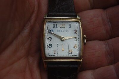 Vintage Rectangle 14k Yellow Gold Filled HAMILTON watch Runs well NR.