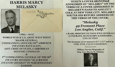 WORLD WAR II WEST POINT GENERAL 550th AIRBORNE 86th INFANTRY SIGNED LETTER COVER