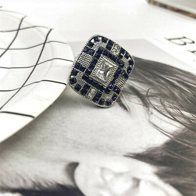 Antique Art Deco Large 925 Jewelry Silver Blue Sapphire & Diamond Ring size 9