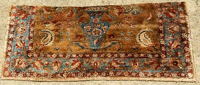 """EARLY 19th CENTURY PERSIAN SILK FRAGMENT- VASE -ORIENTAL RUG SIZE 1' 6"""" x 3' 5"""""""