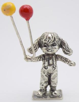 Vintage Solid Silver Italian Made RARE Little Girl w/t Balloons Figurine, Stamp