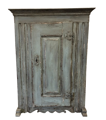 18th C French Antique Painted Cabinet Kitchen Cupboard