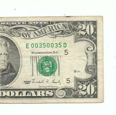 $20 frn. serial number # 0035 0035. REPEATER NUMBER.!!! LQQK.!!
