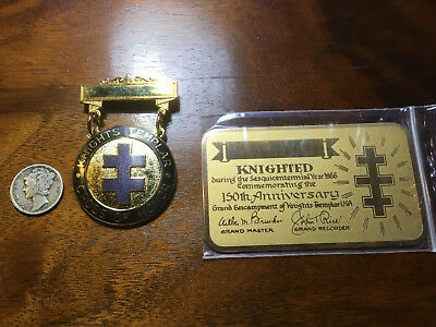 Knights Templar Cross of Honor Badge Pin w/ Brass Plaque Unmarked and New 1966