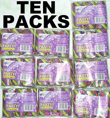 """10 PACKS of STREAMERS ~ over ¾ mile of ¼"""" multicoloured paper party decorations"""