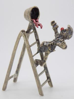 Vintage Solid Silver Italian Made Circus Clown Figurine, Miniature, Stamped