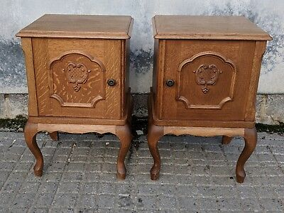 Pair Vintage Oak French Louis XV Rococo Bedside Cabinets - Just Back from France
