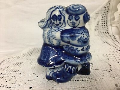A Porcelain Blue And White  FIGURINE Of LOVERS a Couple Signed On Base H. A.