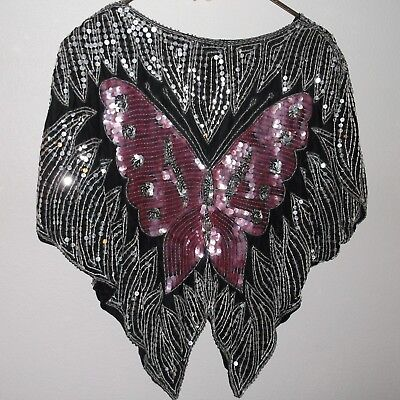 Vintage Butterfly Silk Sequin One Size Top/Capelet Black Pink White Silver Dazzl