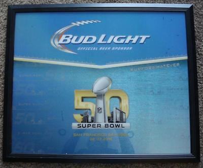 Lg Budweiser Beer Bud Light Superbowl 50 San Francisco Mirror Glass Advertising