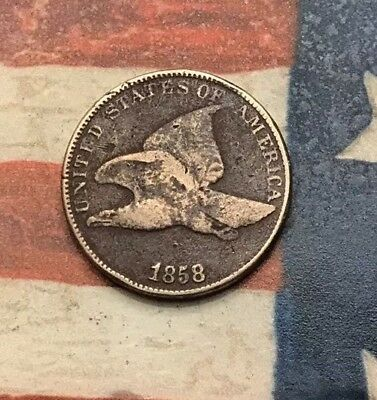 1858 1C Flying Eagle Penny Cent Vintage US Copper Coin #MC13 Sharp