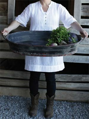 Country French Farmhouse Antique Style  Garden Black Metal Large Oval Tray