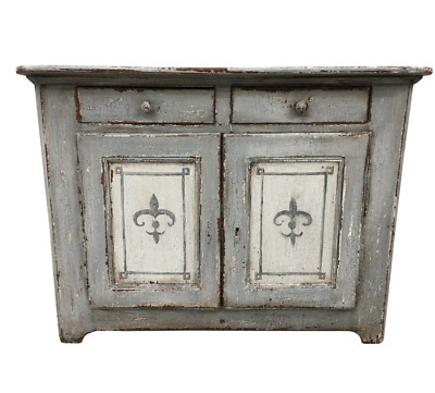French Antique Painted Buffet With Fleur De Lis Motif - 19th C