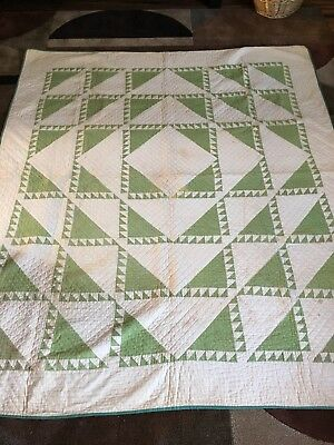 Vintage Quilt Lend And Borrow Early 1900's 73x63 Handmade Green's BEAUTIFUL!