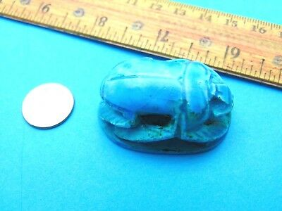 Ancient Egypt Glazed Faience Scarab Seal Pendant Heiroglyphs