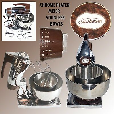 Sunbeam Mixmaster  With 2 Stainless Mixing Bowls & Chrome Plated Beater & Stand