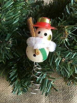 """Vintage Flocked Snowman,Real Straw Broom,Green Scarf Mini Feather Tree Topper 2"""""""