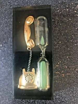 Vintage Retro Telephone Timer PAPERWEIGHT Lucite 3 Minute Gold Green Black