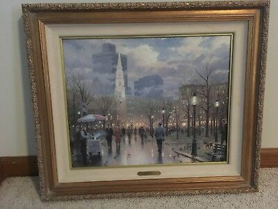 Thomas Kinkade Boston An Evening Stroll Though The Common 16 x 20 Canvas Framed